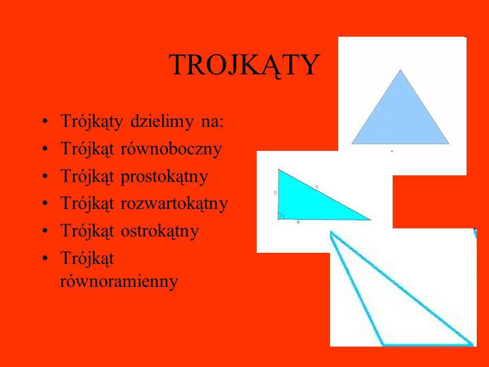 TROJKĄTY Trójkąty dzielimy na: Trójkąt równoboczny Trójkąt prostokątny