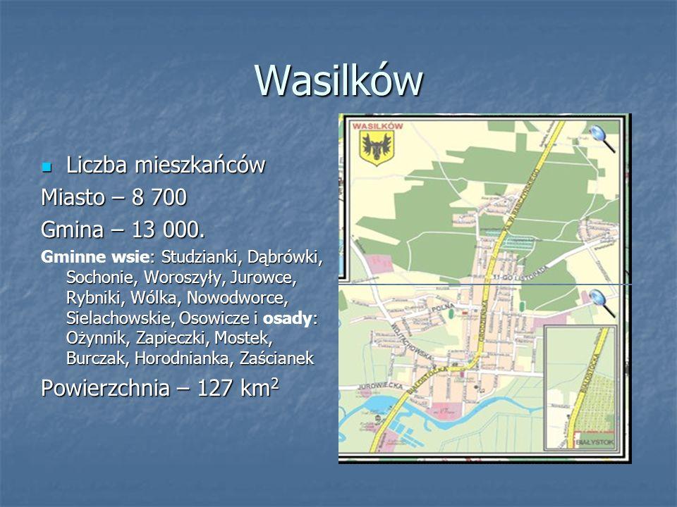 Wasilków Liczba mieszkańców Miasto – 8 700 Gmina – 13 000.