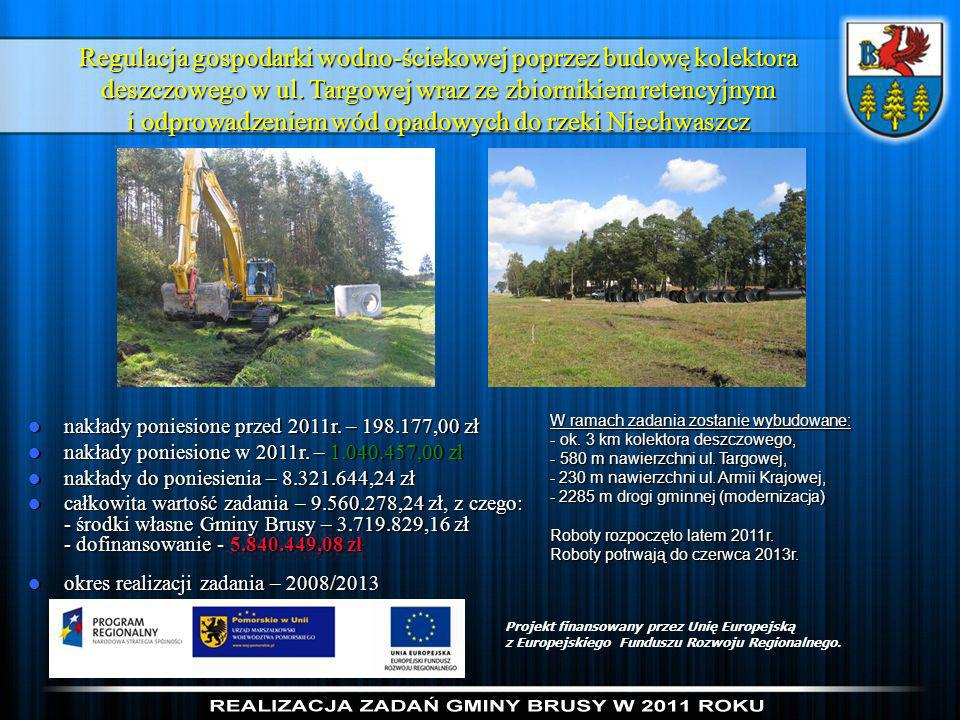Regulacja gospodarki wodno-ściekowej poprzez budowę kolektora deszczowego w ul. Targowej wraz ze zbiornikiem retencyjnym i odprowadzeniem wód opadowych do rzeki Niechwaszcz