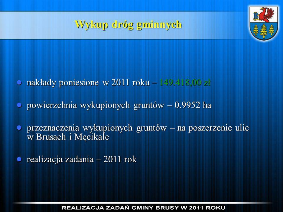 Wykup dróg gminnych nakłady poniesione w 2011 roku – 149.418,00 zł