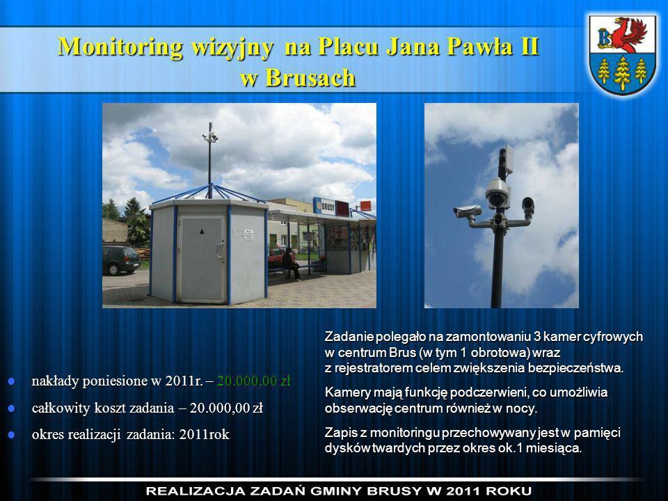 Monitoring wizyjny na Placu Jana Pawła II w Brusach