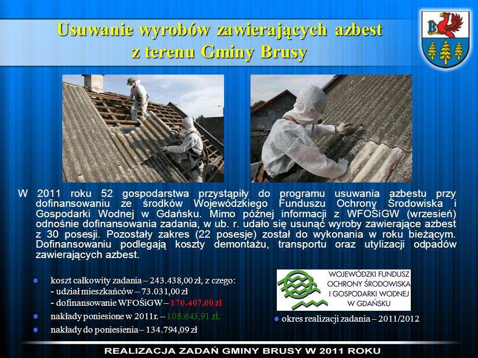 Usuwanie wyrobów zawierających azbest z terenu Gminy Brusy