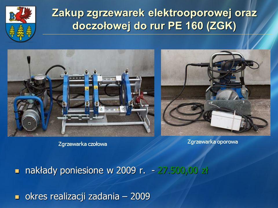 Zakup zgrzewarek elektrooporowej oraz doczołowej do rur PE 160 (ZGK)
