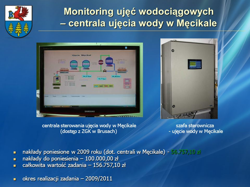 Monitoring ujęć wodociągowych – centrala ujęcia wody w Męcikale
