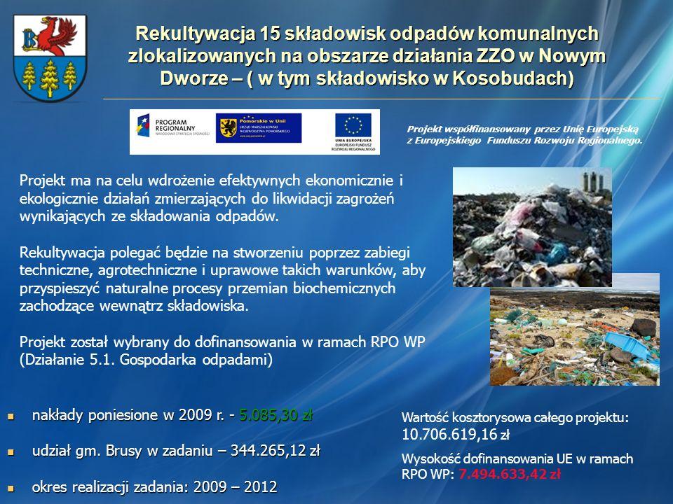 Rekultywacja 15 składowisk odpadów komunalnych zlokalizowanych na obszarze działania ZZO w Nowym Dworze – ( w tym składowisko w Kosobudach)