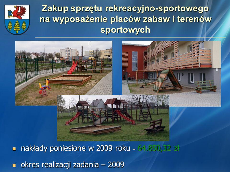 Zakup sprzętu rekreacyjno-sportowego na wyposażenie placów zabaw i terenów sportowych
