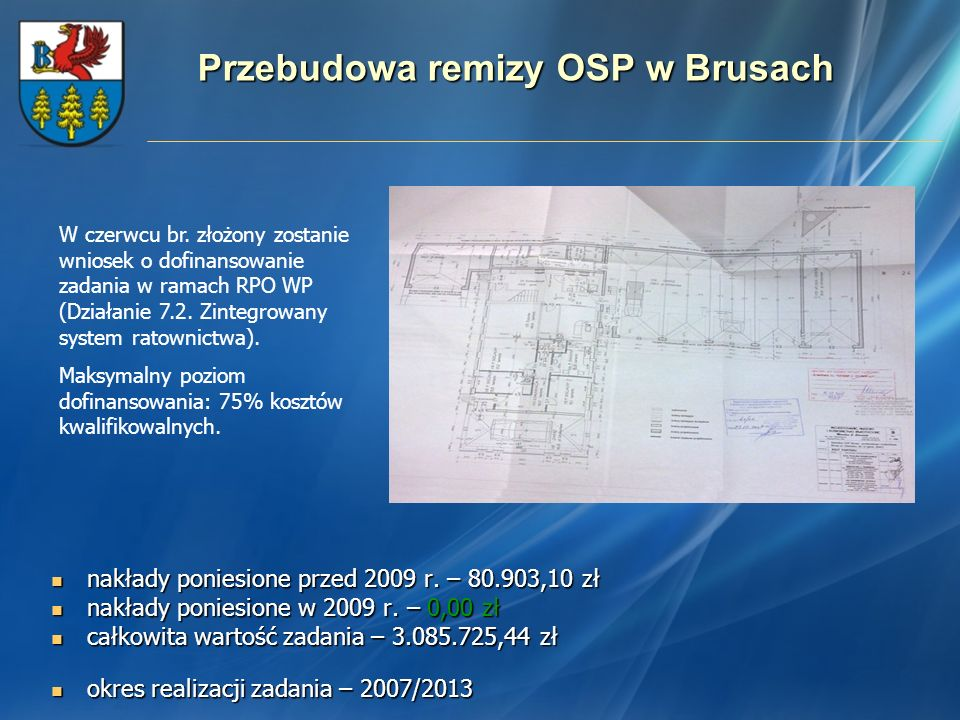 Przebudowa remizy OSP w Brusach