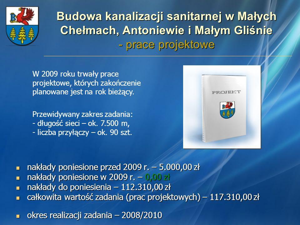 Budowa kanalizacji sanitarnej w Małych Chełmach, Antoniewie i Małym Gliśnie - prace projektowe