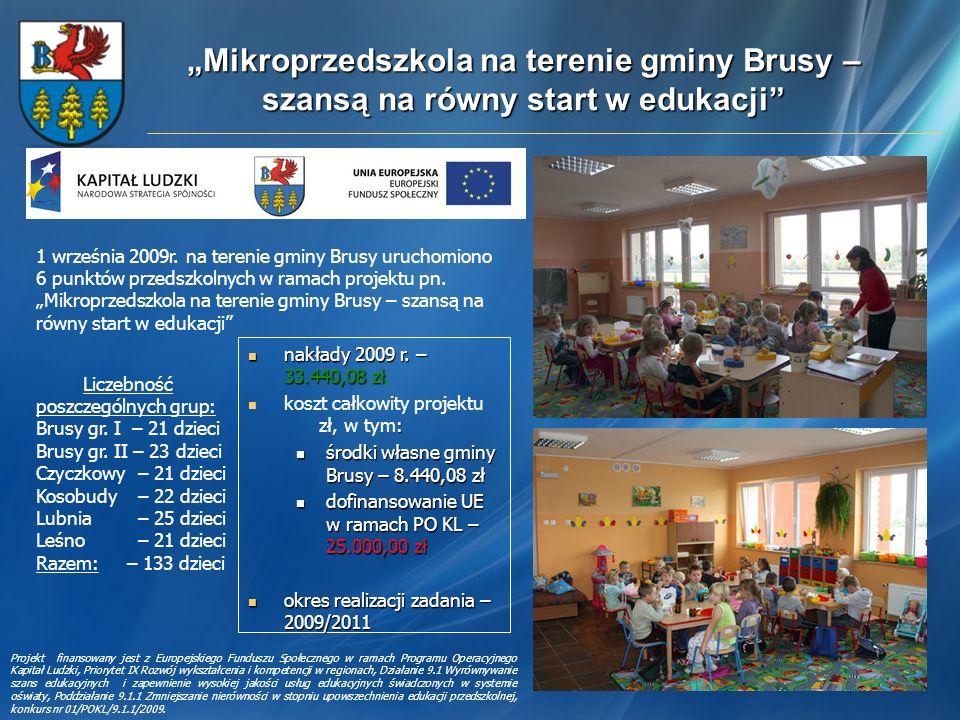 """""""Mikroprzedszkola na terenie gminy Brusy – szansą na równy start w edukacji"""