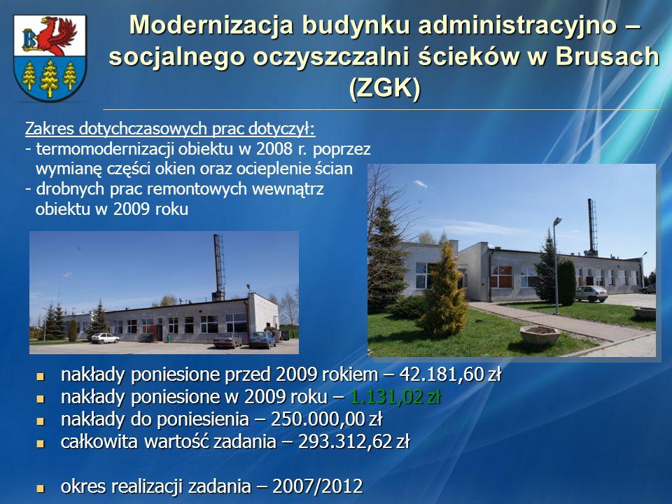 Modernizacja budynku administracyjno – socjalnego oczyszczalni ścieków w Brusach (ZGK)