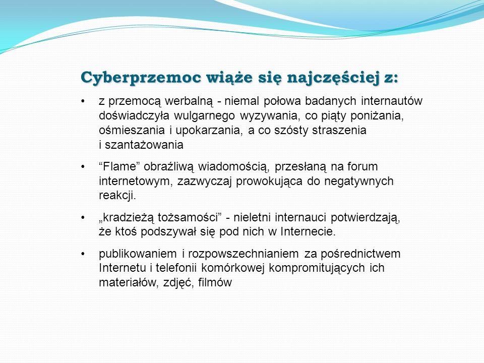 Cyberprzemoc wiąże się najczęściej z: