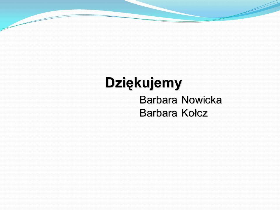 Dziękujemy Barbara Nowicka Barbara Kołcz