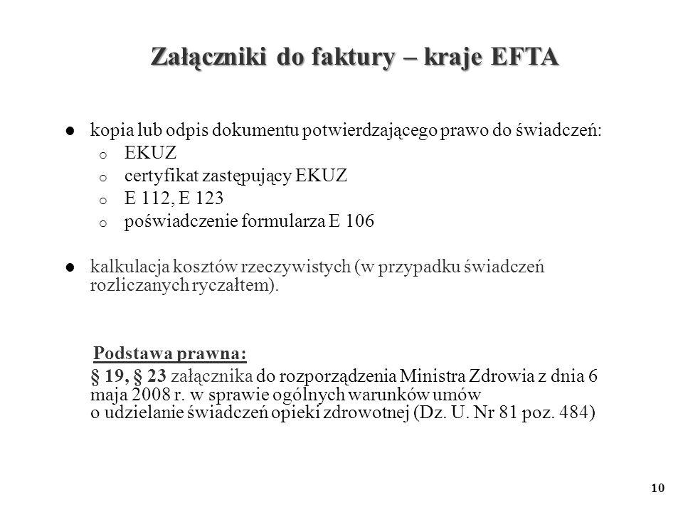 Załączniki do faktury – kraje EFTA