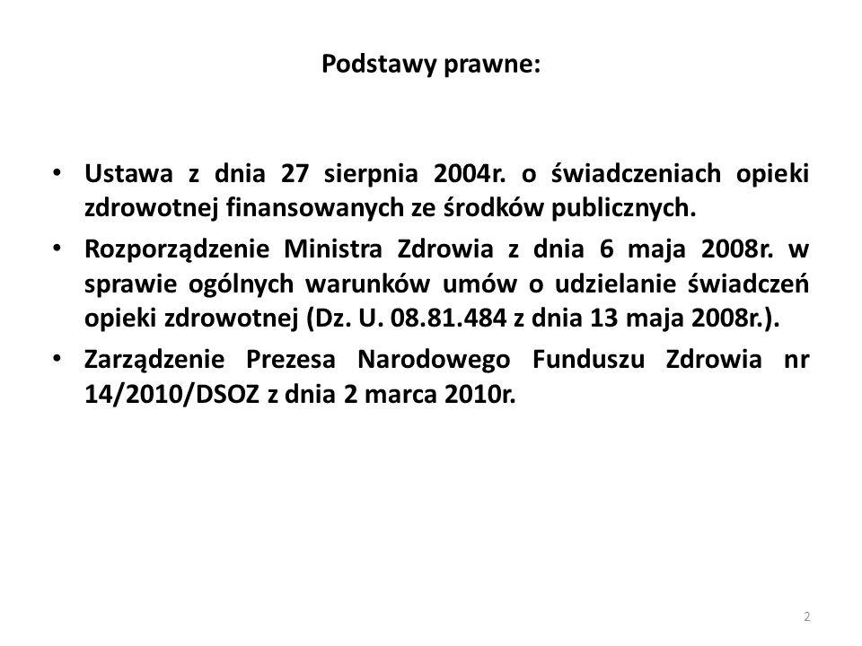 Podstawy prawne: Ustawa z dnia 27 sierpnia 2004r. o świadczeniach opieki zdrowotnej finansowanych ze środków publicznych.