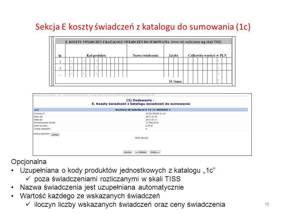 Sekcja E koszty świadczeń z katalogu do sumowania (1c)