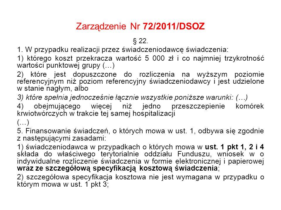 Zarządzenie Nr 72/2011/DSOZ § 22. 1. W przypadku realizacji przez świadczeniodawcę świadczenia: