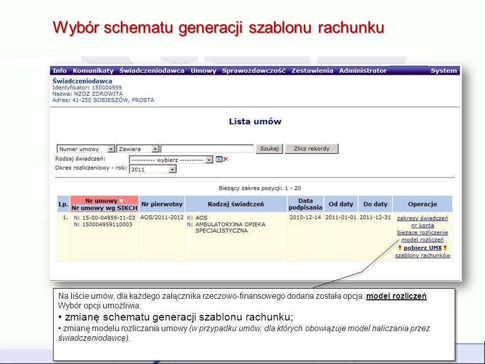 Wybór schematu generacji szablonu rachunku