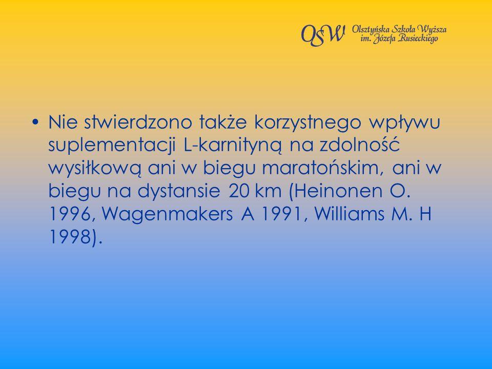 Nie stwierdzono także korzystnego wpływu suplementacji L-karnityną na zdolność wysiłkową ani w biegu maratońskim, ani w biegu na dystansie 20 km (Heinonen O.