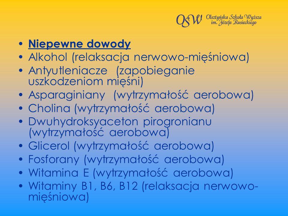 Niepewne dowodyAlkohol (relaksacja nerwowo-mięśniowa) Antyutleniacze (zapobieganie uszkodzeniom mięśni)