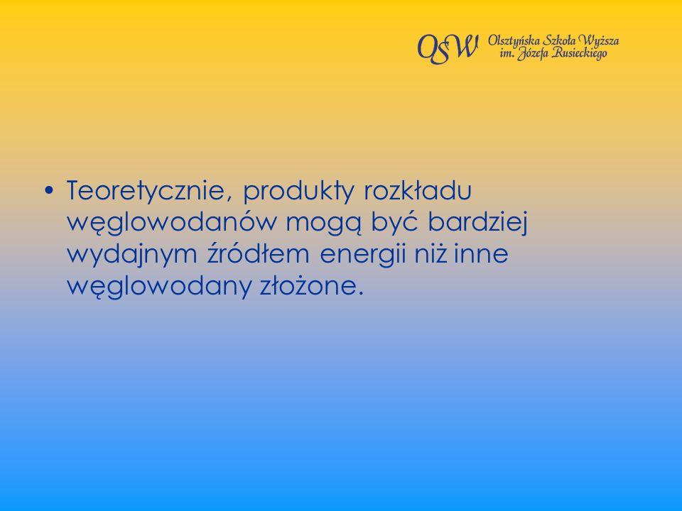 Teoretycznie, produkty rozkładu węglowodanów mogą być bardziej wydajnym źródłem energii niż inne węglowodany złożone.