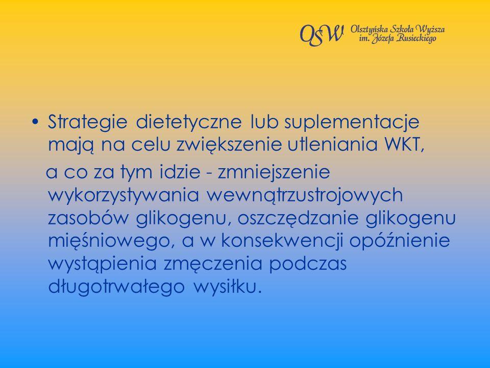 Strategie dietetyczne lub suplementacje mają na celu zwiększenie utleniania WKT,