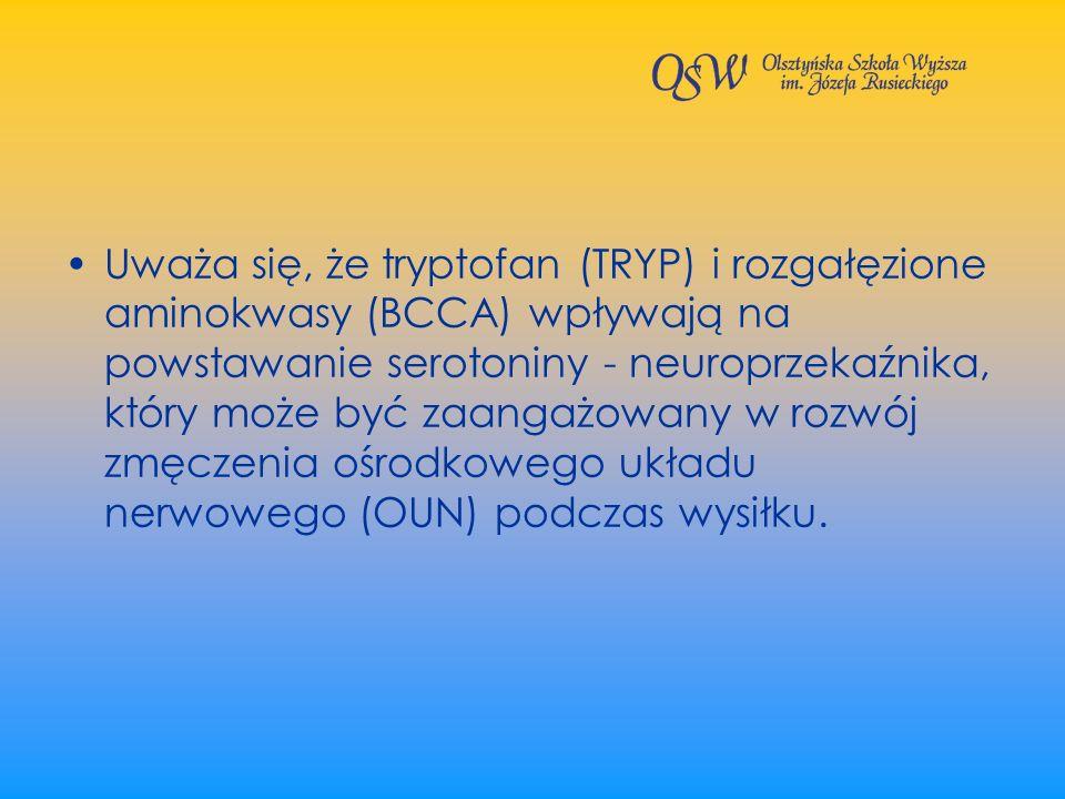 Uważa się, że tryptofan (TRYP) i rozgałęzione aminokwasy (BCCA) wpływają na powstawanie serotoniny - neuroprzekaźnika, który może być zaangażowany w rozwój zmęczenia ośrodkowego układu nerwowego (OUN) podczas wysiłku.