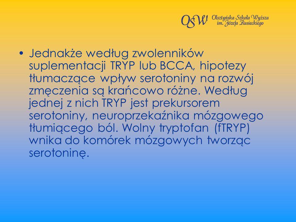 Jednakże według zwolenników suplementacji TRYP lub BCCA, hipotezy tłumaczące wpływ serotoniny na rozwój zmęczenia są krańcowo różne.