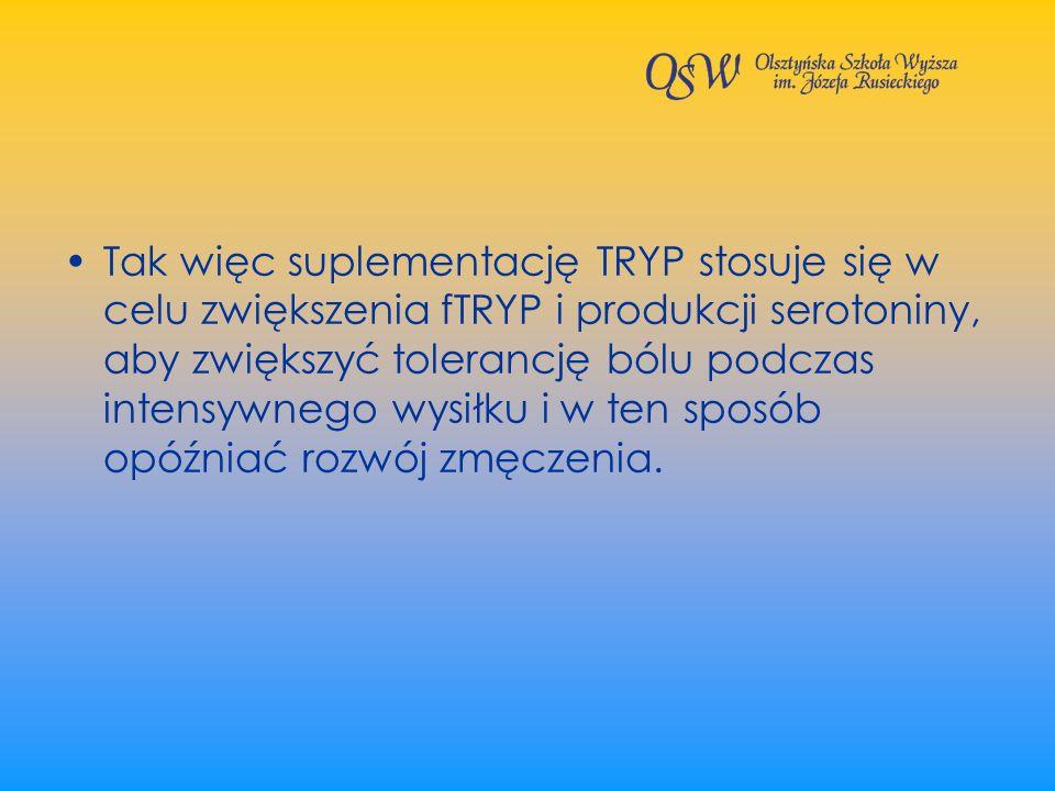 Tak więc suplementację TRYP stosuje się w celu zwiększenia fTRYP i produkcji serotoniny, aby zwiększyć tolerancję bólu podczas intensywnego wysiłku i w ten sposób opóźniać rozwój zmęczenia.