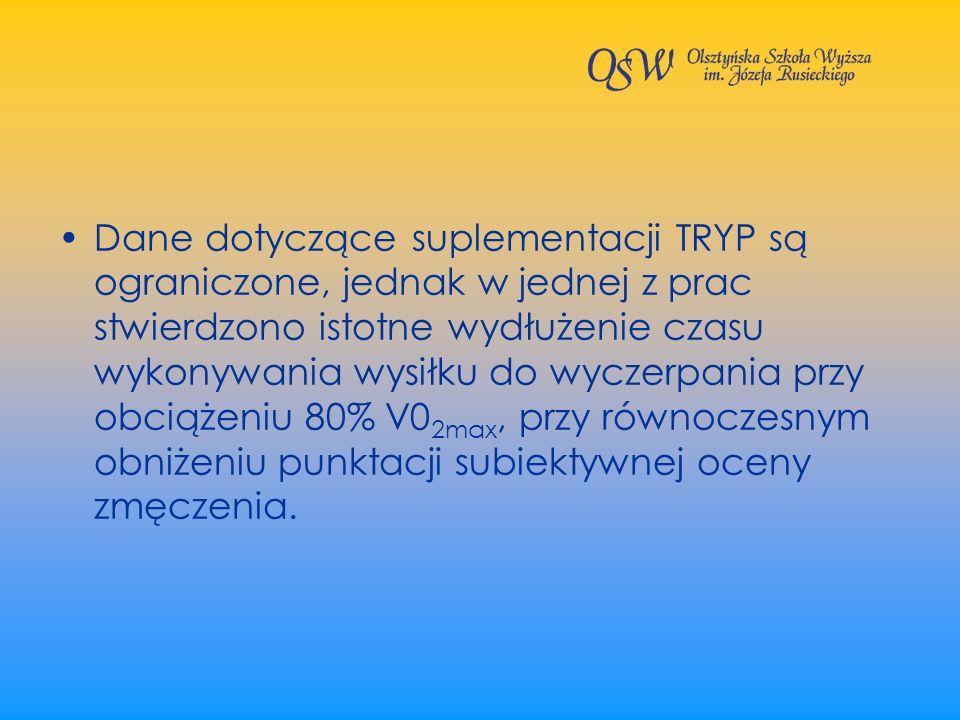 Dane dotyczące suplementacji TRYP są ograniczone, jednak w jednej z prac stwierdzono istotne wydłużenie czasu wykonywania wysiłku do wyczerpania przy obciążeniu 80% V02max, przy równoczesnym obniżeniu punktacji subiektywnej oceny zmęczenia.