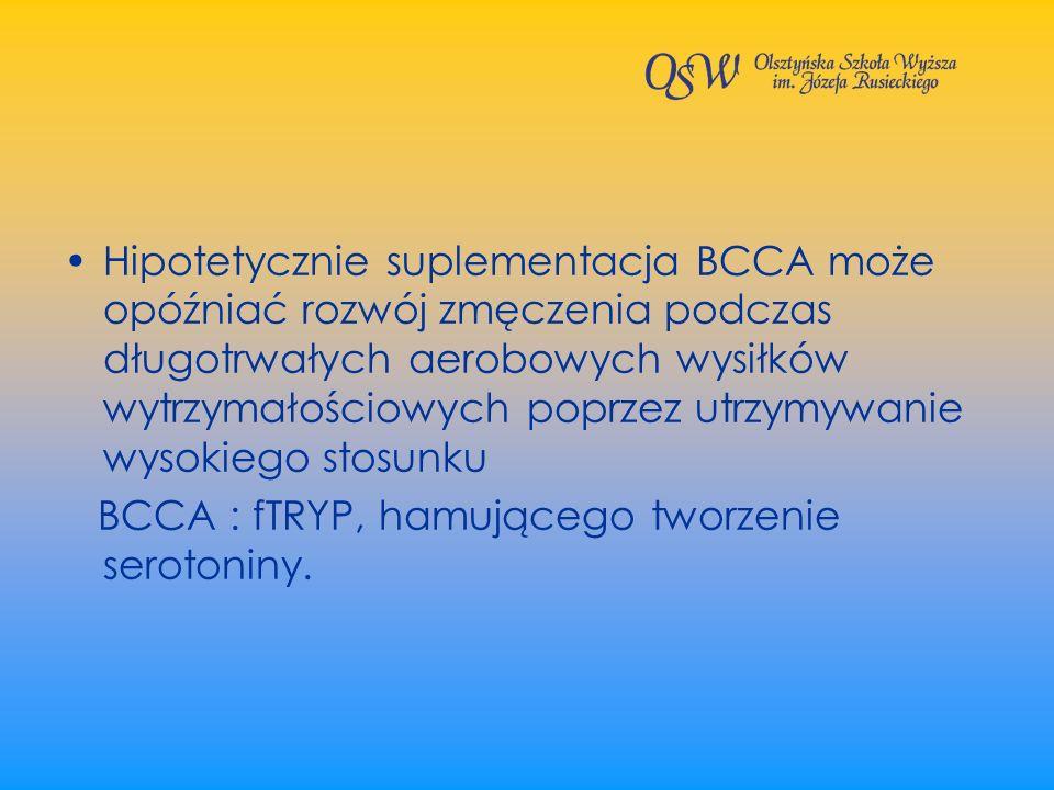 Hipotetycznie suplementacja BCCA może opóźniać rozwój zmęczenia podczas długotrwałych aerobowych wysiłków wytrzymałościowych poprzez utrzymywanie wysokiego stosunku