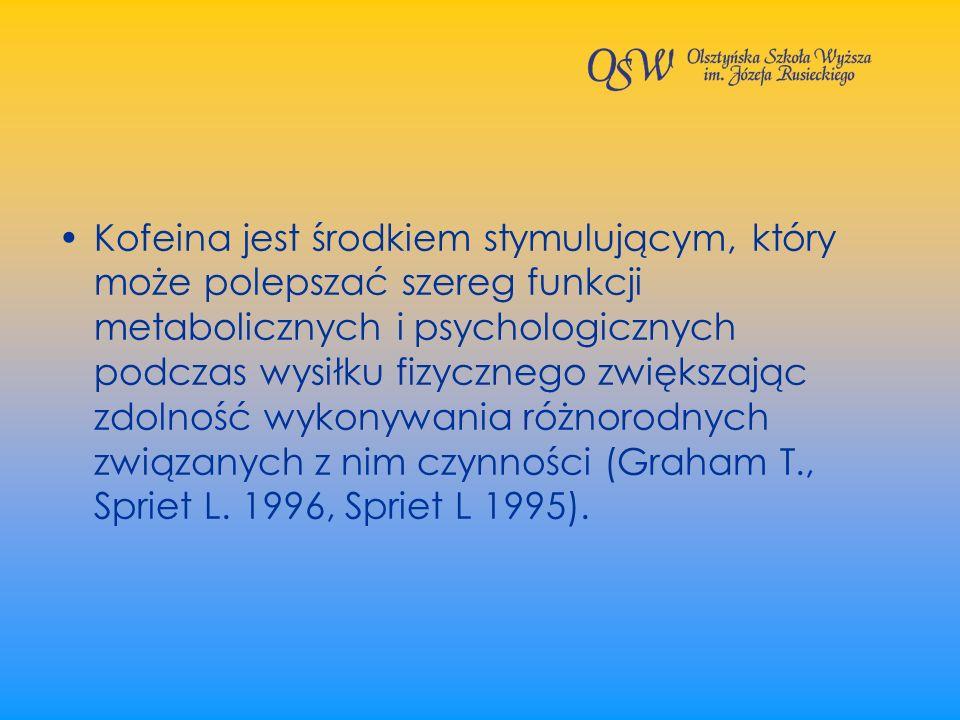 Kofeina jest środkiem stymulującym, który może polepszać szereg funkcji metabolicznych i psychologicznych podczas wysiłku fizycznego zwiększając zdolność wykonywania różnorodnych związanych z nim czynności (Graham T., Spriet L.