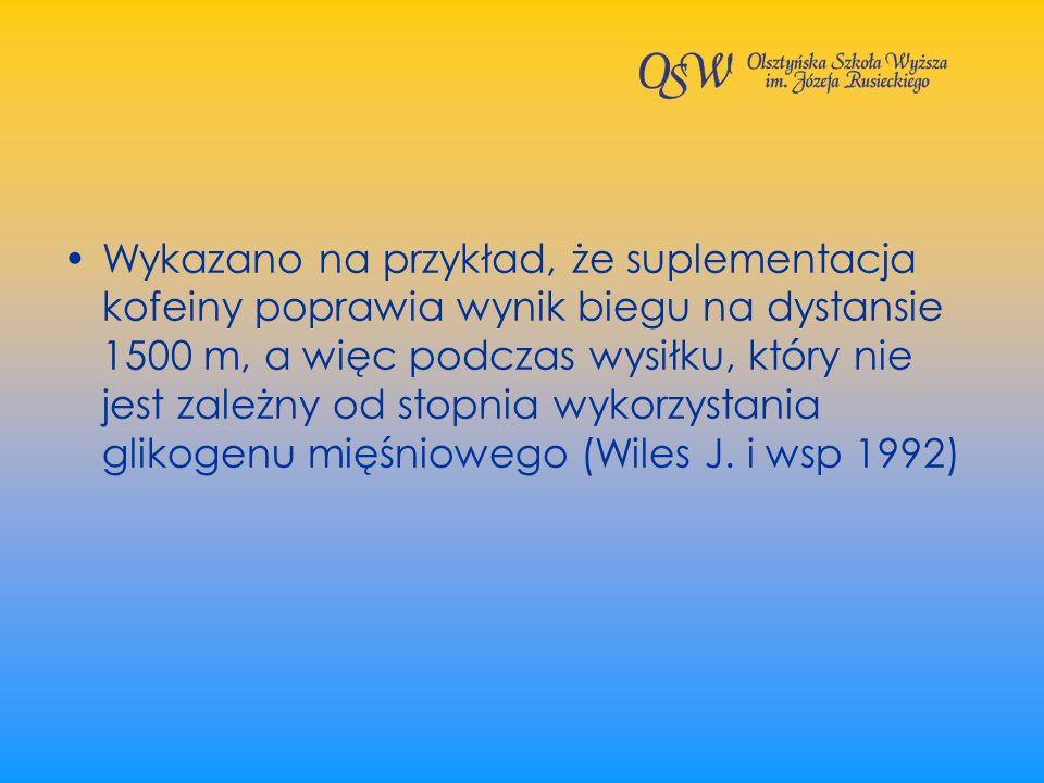 Wykazano na przykład, że suplementacja kofeiny poprawia wynik biegu na dystansie 1500 m, a więc podczas wysiłku, który nie jest zależny od stopnia wykorzystania glikogenu mięśniowego (Wiles J.
