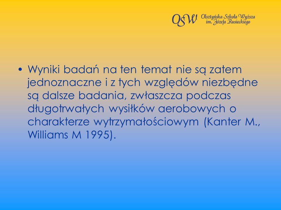 Wyniki badań na ten temat nie są zatem jednoznaczne i z tych względów niezbędne są dalsze badania, zwłaszcza podczas długotrwałych wysiłków aerobowych o charakterze wytrzymałościowym (Kanter M., Williams M 1995).