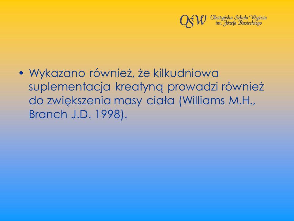 Wykazano również, że kilkudniowa suplementacja kreatyną prowadzi również do zwiększenia masy ciała (Williams M.H., Branch J.D.