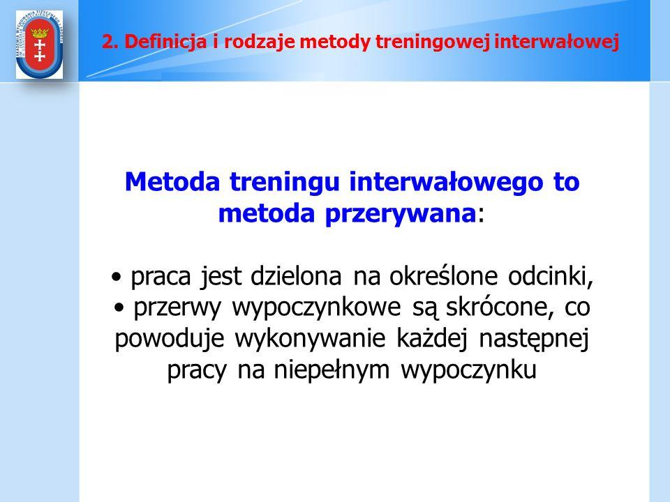 Metoda treningu interwałowego to metoda przerywana: