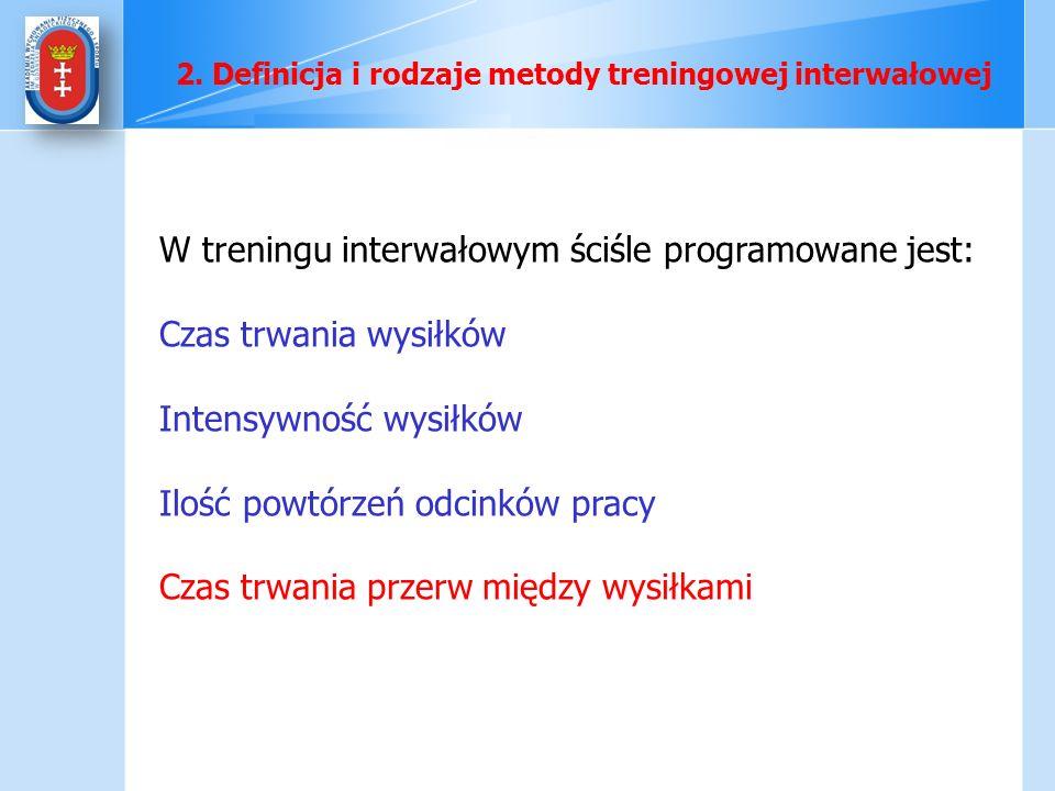 W treningu interwałowym ściśle programowane jest: