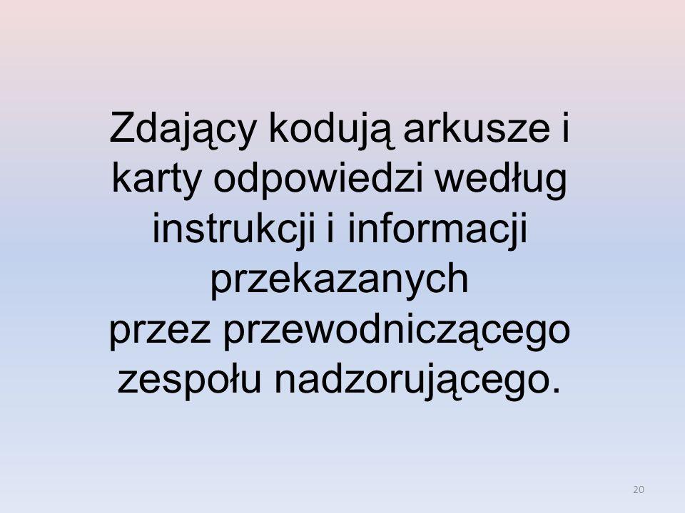 Zdający kodują arkusze i karty odpowiedzi według instrukcji i informacji przekazanych przez przewodniczącego zespołu nadzorującego.