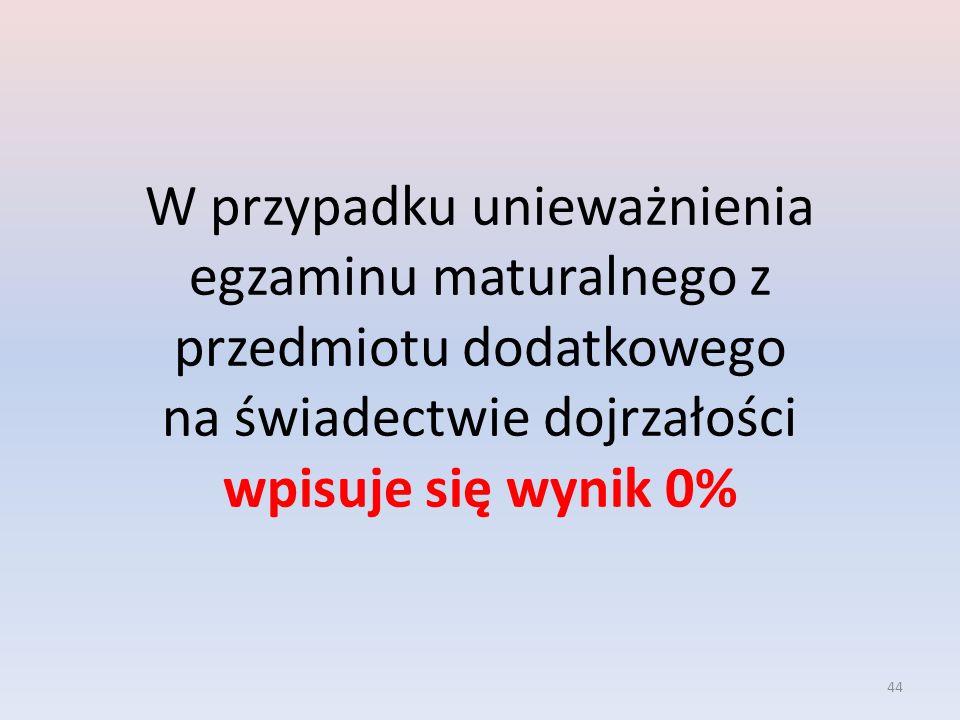 W przypadku unieważnienia egzaminu maturalnego z przedmiotu dodatkowego na świadectwie dojrzałości wpisuje się wynik 0%