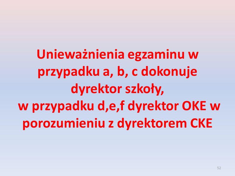 Unieważnienia egzaminu w przypadku a, b, c dokonuje dyrektor szkoły, w przypadku d,e,f dyrektor OKE w porozumieniu z dyrektorem CKE