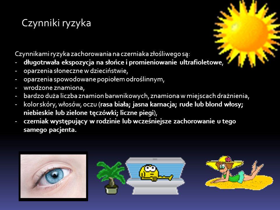 Czynniki ryzyka Czynnikami ryzyka zachorowania na czerniaka złośliwego są: długotrwała ekspozycja na słońce i promieniowanie ultrafioletowe,