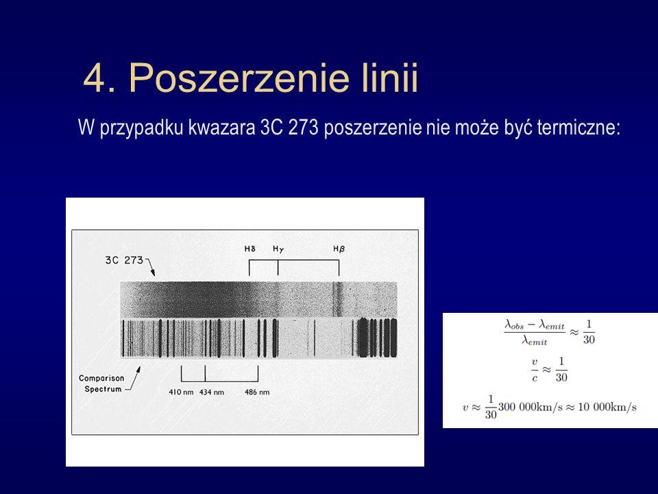 4. Poszerzenie linii W przypadku kwazara 3C 273 poszerzenie nie może być termiczne: