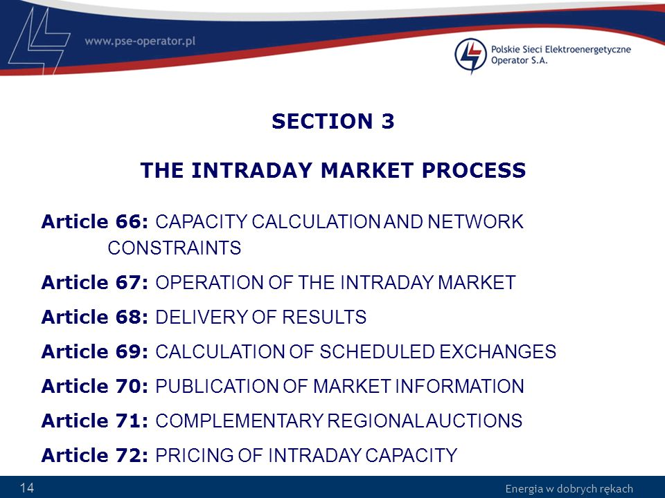 SECTION 3 THE INTRADAY MARKET PROCESS