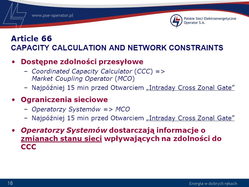 Article 66 CAPACITY CALCULATION AND NETWORK CONSTRAINTS