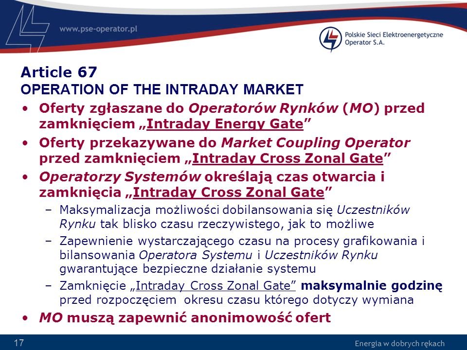 Article 67 OPERATION OF THE INTRADAY MARKET