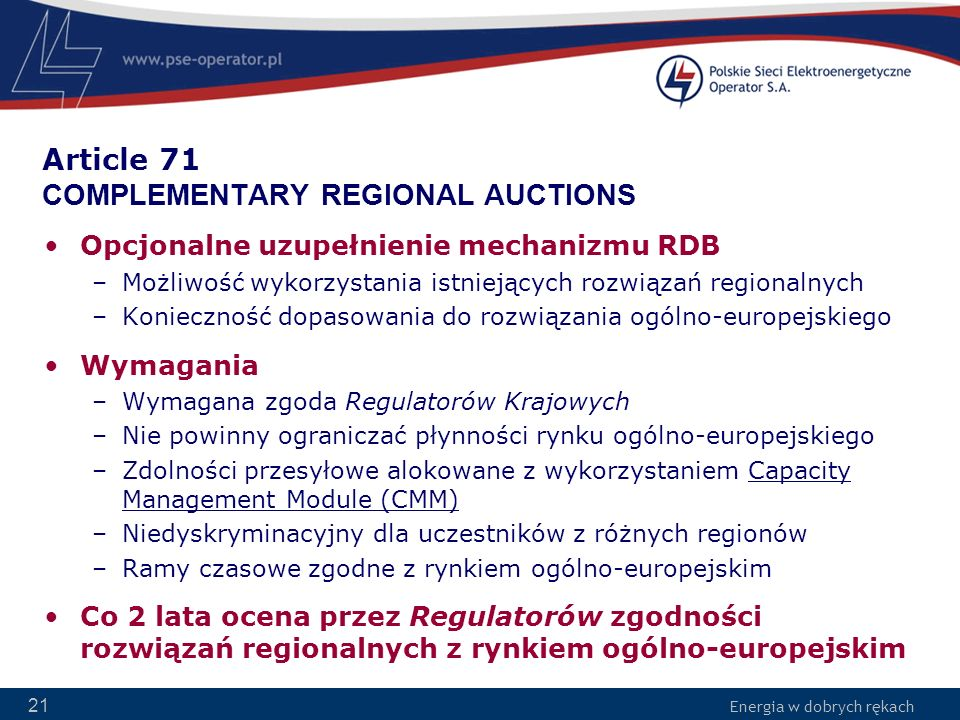 Article 71 COMPLEMENTARY REGIONAL AUCTIONS