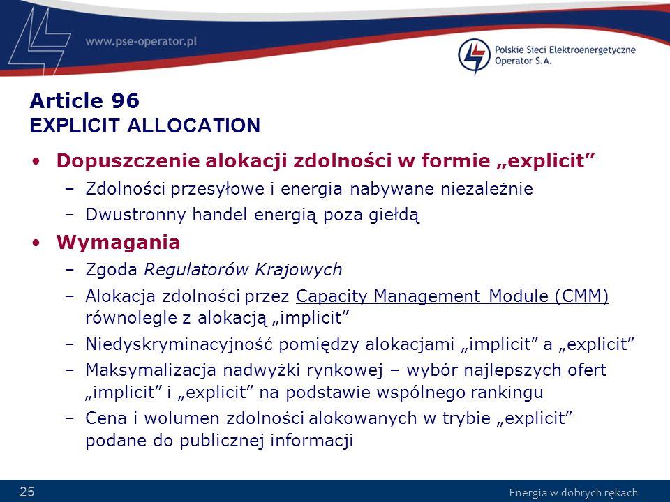 Article 96 EXPLICIT ALLOCATION