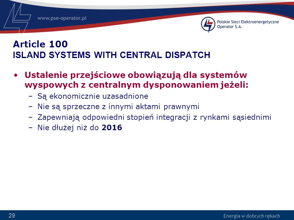 Article 100 ISLAND SYSTEMS WITH CENTRAL DISPATCH