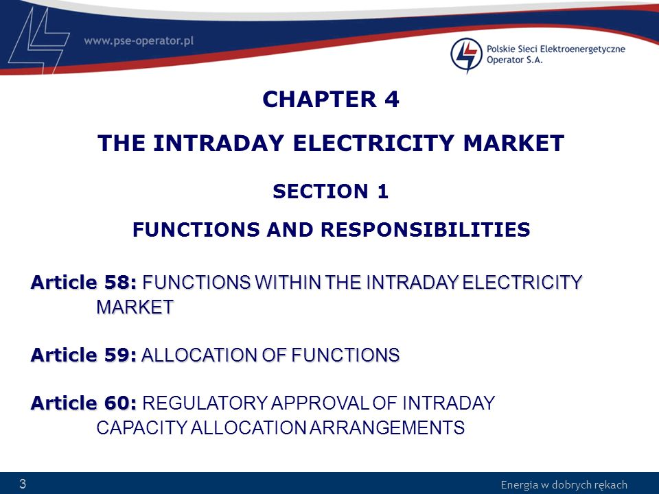 CHAPTER 4 THE INTRADAY ELECTRICITY MARKET SECTION 1 FUNCTIONS AND RESPONSIBILITIES