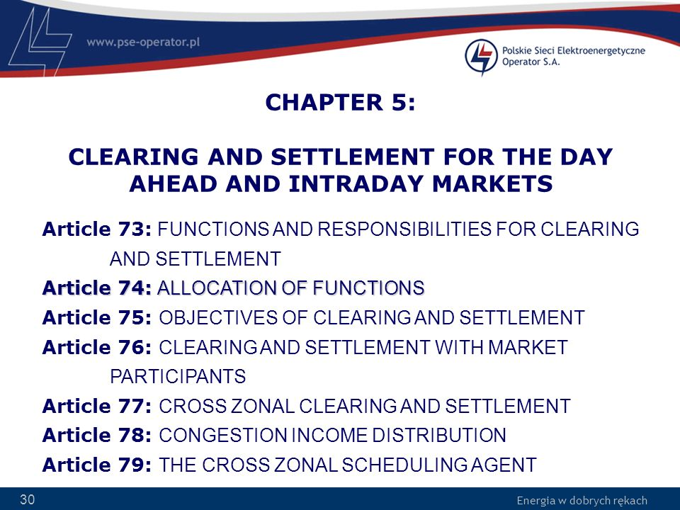 CHAPTER 5: CLEARING AND SETTLEMENT FOR THE DAY AHEAD AND INTRADAY MARKETS