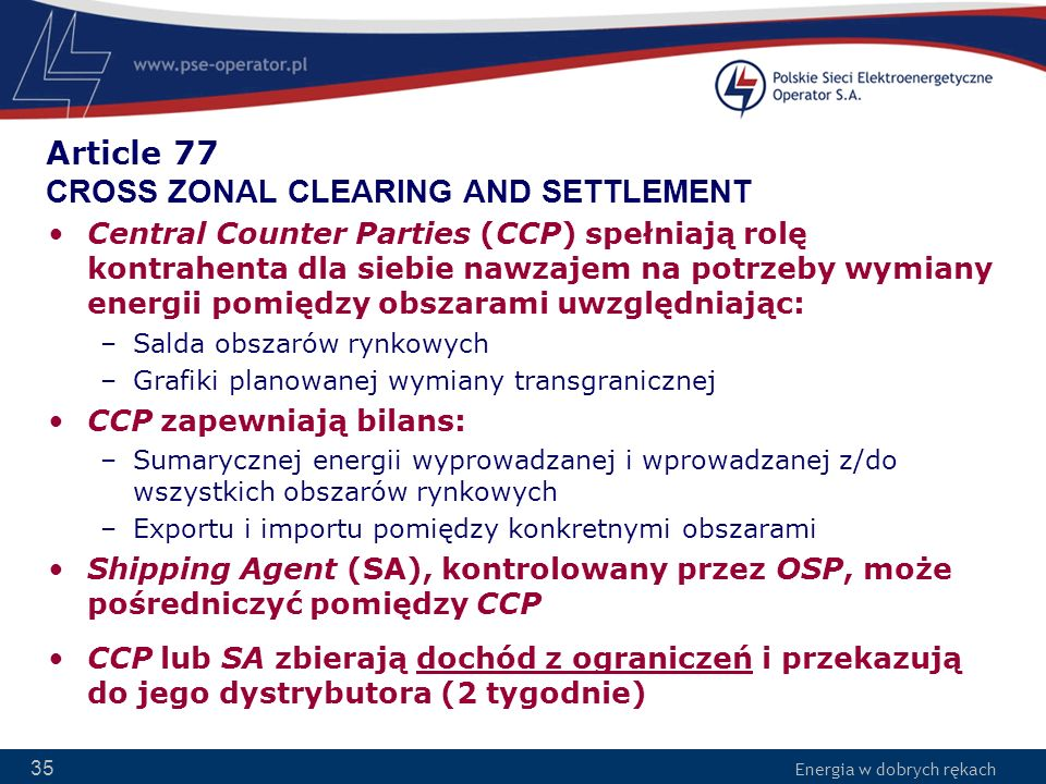 Article 77 CROSS ZONAL CLEARING AND SETTLEMENT
